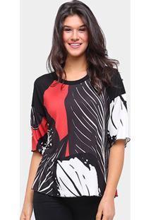 Camiseta Triton Estampada Oversized Feminina - Feminino-Preto+Marrom