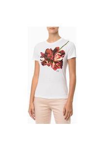 Camiseta Flor Ombro Branco Calvin Klein