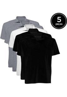Kit De 5 Camisas Polo Masculinas De Várias Cores C