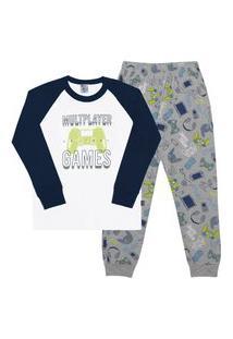 Pijama Meia Malha - 46581-3 - (4 A 10 Anos) Pijama Branco - Infantil Menino Meia Malha Ref:46581-3-6