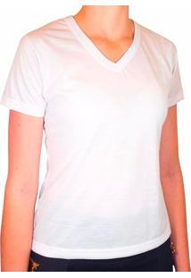 Camiseta Branca 100% Poliéster Para Sublimação Gola V Feminina Gg