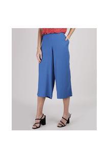 Calça Feminina Pantacourt Cintura Alta Azul