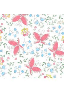 Papel De Parede De Borboletas- Rosa & Azul- 300X0,58Jmi Decor