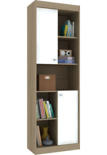 Estante Para Livros 2 Portas 4 Prateleiras Ho-2925 Avelã/Branco - Hecol