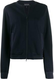 Emporio Armani Collarless Cropped Jacket - Azul