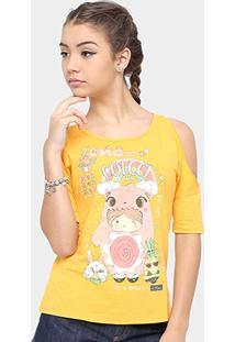Camiseta Infantil Colcci Fun Estampada Feminina - Feminino-Amarelo