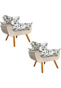Kit 02 Poltrona Decorativa Opala Composê Estampado Floral D68 E Peach Bege - D'Rossi