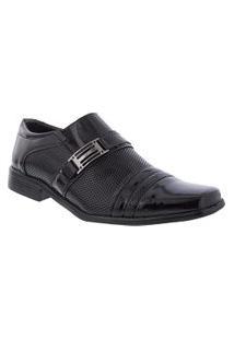 Sapato Social Valença Com Fivela Verniz Preto