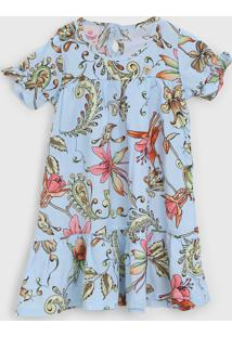 Vestido Abrange Infantil Floral Azul - Azul - Menino - Viscose - Dafiti