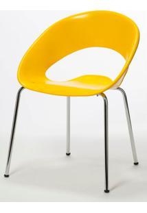 Cadeira One Base Fixa Cromada Cor Amarela - 14447 Sun House