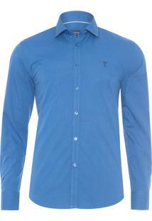 Camisa Masculina Casual Slim - Azul