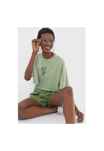 Camiseta Cropped Colcci Feliz Verde