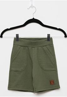 Bermuda Moletom Pulla Bulla Básica Masculina - Masculino-Verde Militar