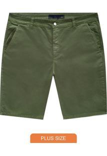 Bermuda Verde Militar Comfort Sarja