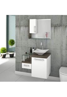 Gabinete Para Banheiro 1 Porta 1 Gaveta 1 Cuba Folha Lux E Espelheira Legno 630W Siena Móveis Branco/Carvalho Dark