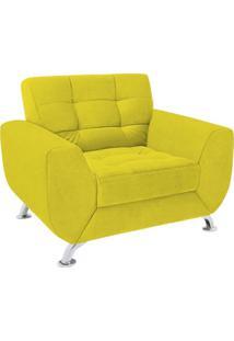 Poltrona Decorativa Londres Pã©S Cromado Suede Amarelo - Amarelo - Dafiti