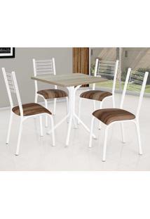 Conjunto De Mesa Com 4 Cadeiras - Camila - Ciplafe - Capuccino