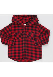 Camisa Infantil Xadrez Em Flanela Com Capuz Manga Longa Vermelha