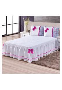 Colcha Cobre Leito Casal Floral Laço Pink 3 Peças