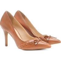 7030ff062d Scarpin Couro Shoestock Salto Alto Trançado - Feminino-Caramelo