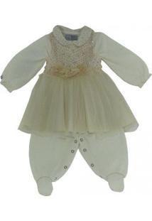 Vestido Infantil Bege E Macacão Branco Nicole