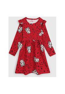 Vestido Brandili Infantil Panda Vermelho
