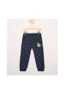 Calça De Moletom Infantil Estampada Pluto Azul Marinho