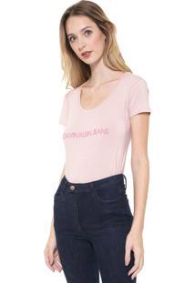 Camiseta Calvin Klein Jeans Logo Bege