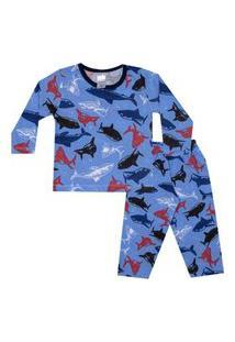 Conjunto Pijama Menino Em Meia Malha Rotativa Azul Claro - Liga Nessa