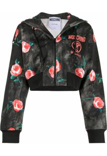 Moschino Rose-Print Cropped Hoodie - Preto
