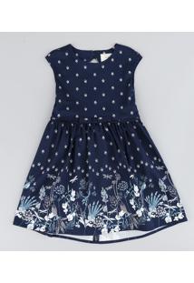 Vestido Infantil Estampado De Borboletas Com Laço E Vazado Sem Manga Azul Marinho