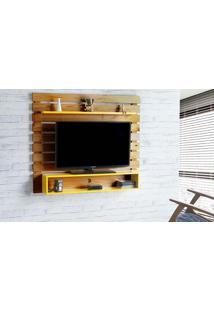 Painel Tv Quarto Standby - Home Suspenso Para Tv Até 60 Polegadas Com Rack Nózes E Amarelo - 135X23X115 Cm