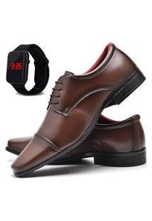 Sapato Social Masculino Asgard Com Relógio Led Db 807Lbm Marrom