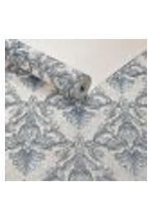 Papel De Parede Vinilico Lavavel Texturizado Arabescos Azul