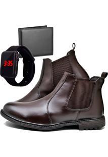 Botina Bota Fashion Com Carteira E Relógio Led Masculino Dubuy 258El Marrom - Kanui