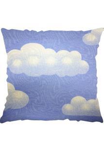 Capa Para Almofada Jacquard Veneza Nuvens- Azul & Brancaniazitex