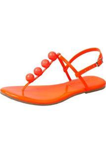 Sandália Rasteira Mercedita Shoes Flat Pirâmide Feminina - Feminino-Laranja