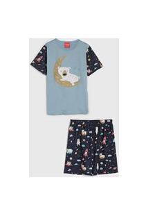 Pijama Tricae Curto Infantil Urso Azul