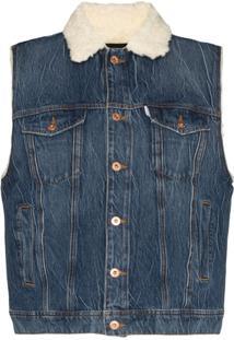 Filles A Papa Colete Jeans Com Pele - Azul