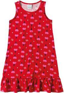 Vestido Vermelho Peplum Estampado