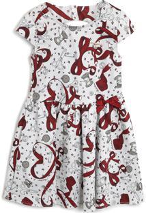 Vestido Sarja Carinhoso Estampa Branco/Vermelho