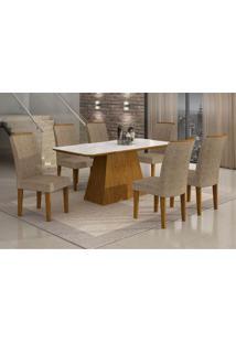 Conjunto De Mesa Lunara I Com Vidro E 6 Cadeiras Suede Amassado Imbuia E Chocolate