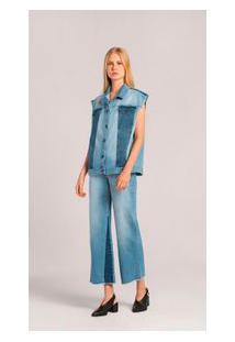 Colete Curto Bicolor Jeans M