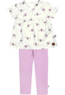 Conjunto Infantil Bebê Menina Com Blusa E Calça