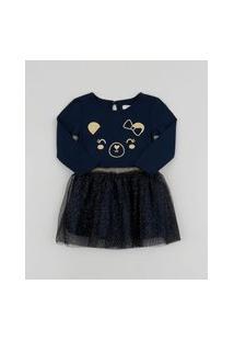Vestido Infantil Ursinho Manga Longa Com Tule Azul Marinho