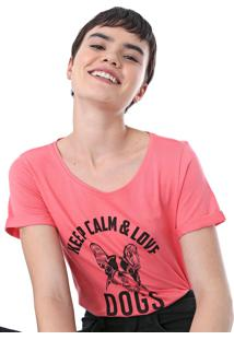 Camiseta Malwee Love Dogs Rosa