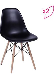 Jogo De Cadeiras Eames Dkr- Preto & Madeira- 2Pã§S