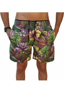 Bermuda Short Floral Roxa Moda Praia Relaxado Estampado - Roxo - Masculino - Poliã©Ster - Dafiti