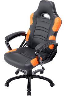 Cadeira Office Station Em Courino Preto E Laranja - 53509 - Sun House