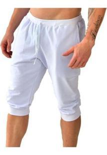 Bermuda Moletom Saruel Skinny Brohood Masculino - Masculino-Branco